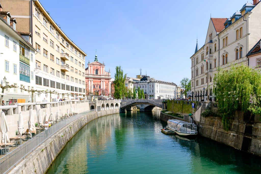 Die Alstadt entlang der Ljubljanica