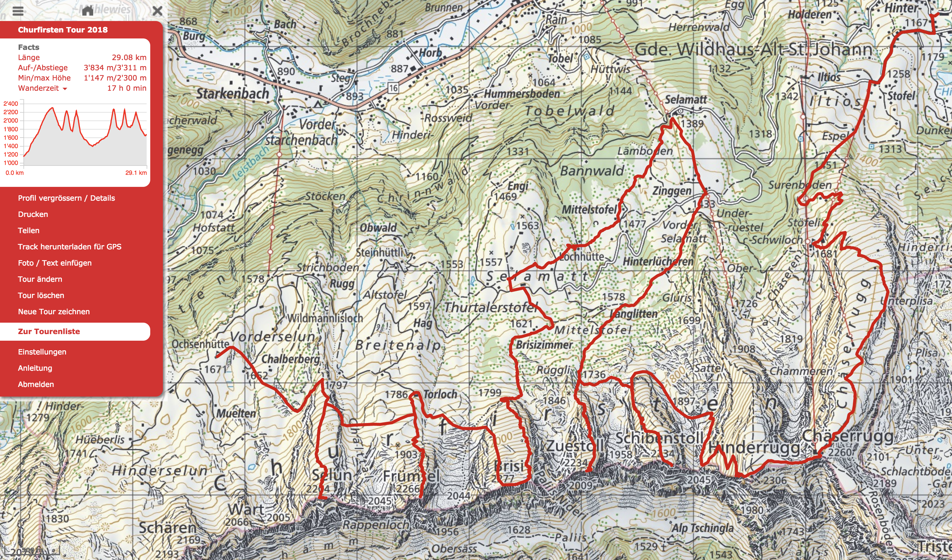 Die Route der Churfirsten Tour